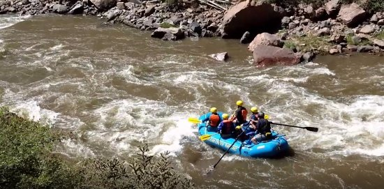 Royal Gorge Route Railroad: Rafters on Arkansas River that follows the rail line