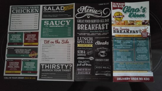 Thurles, Irlanda: Ginos Diner Menu Leaflet for July 2017