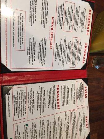 ทอร์รันซ์, แคลิฟอร์เนีย: The menu