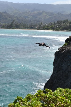 Hauula, HI: We did not do this jump, there were local kids jumping into the water