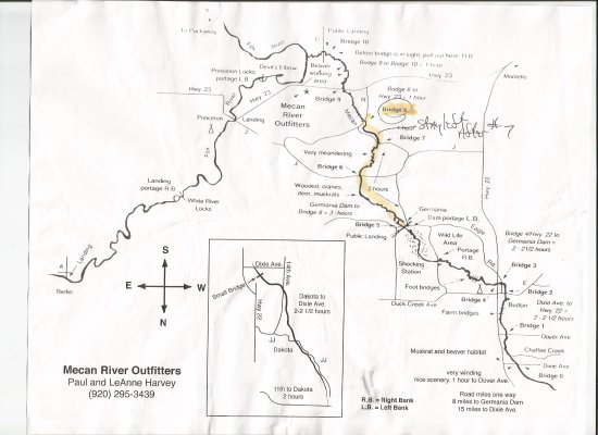 Princeton, WI : Mecan River Map 2 hour route from Bridge 5 to 8.