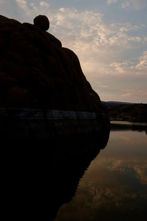 Prescott, AZ: A boulder at the boat launch ramp. Dawn.