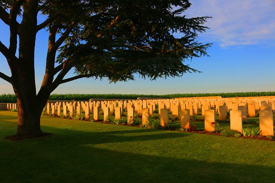 Noyelles-sur-Mer, France: Collection of graves under pine tree