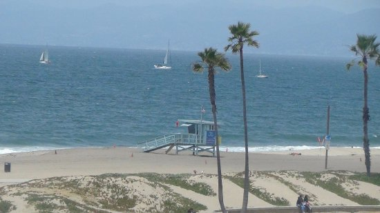 View From Dockweiler State Beach In Los Angeles Of Boats Sailing On The Pacific Ocean