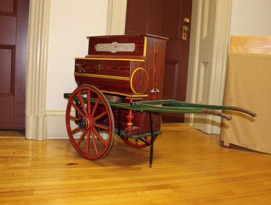 Miramichi, Canada: A hurdy-gurdy donated by Beaverbrook to the Old Manse Library.
