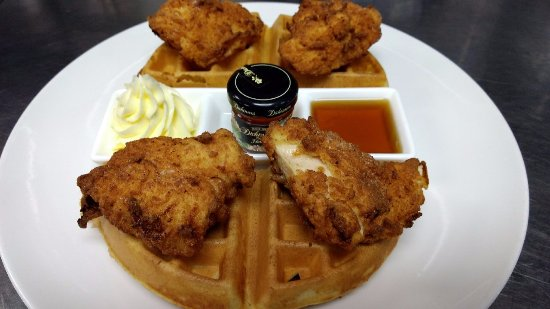 Exeter, NH: Chicken and Waffles for breakfast!