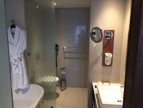 Hilton Cape Town City Centre: View from room, frosted glass sliding door separating them. Rain shower head shower not shown in