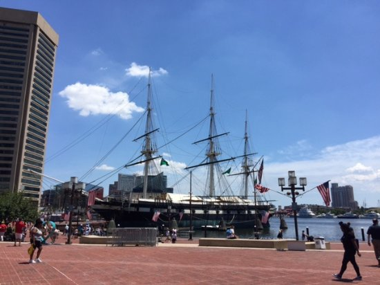Baltimore Water Taxi: USS Constellation near the taxi stand