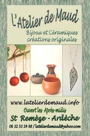 Saint-Remeze, Франция: Bienvenu à l'atelier de Maud, je vous accueille les après-midis ou sur demande.