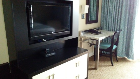 Bay Lake Tower at Disney's Contemporary Resort: TV and desk in master one bedroom