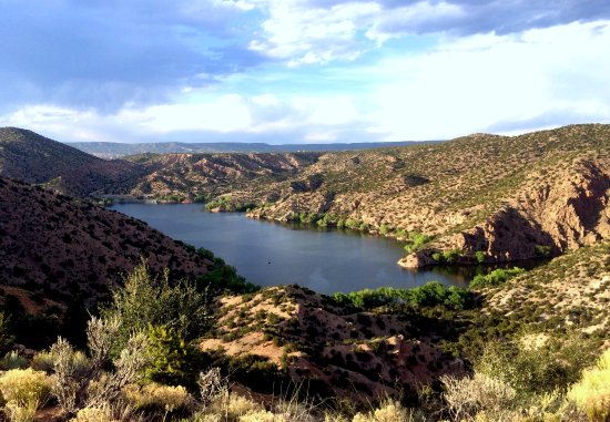 Chimayo, NM: View of Santa Cruz Lake from the upper campground.