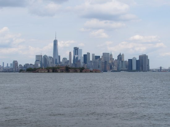 Liberty State Park: The NYC skyline from Flag Plaza (also zoomed in on the camera a bit)