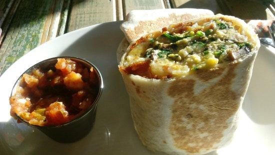 Dunsmuir, CA: Breakfast burrito, made with hash browns, veggies and organic, pasture-raised eggs.