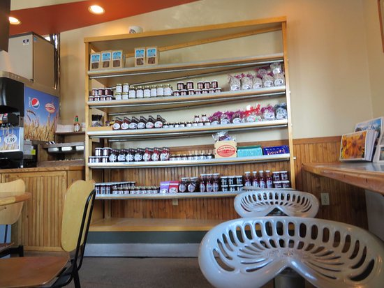 Three Forks, MT: Selection of jellies, jams and syrup plus seating area