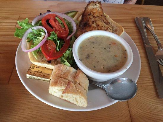Stillwater, MN: Walleye sandwich with chicken wild rice soup