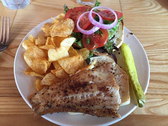 Stillwater, MN: Walleye sandwich with chips