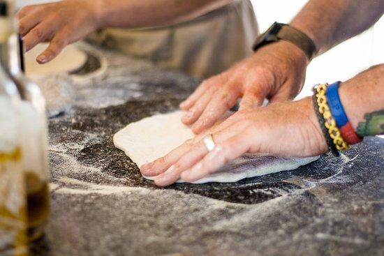 Kingsbridge, UK: opening the dough