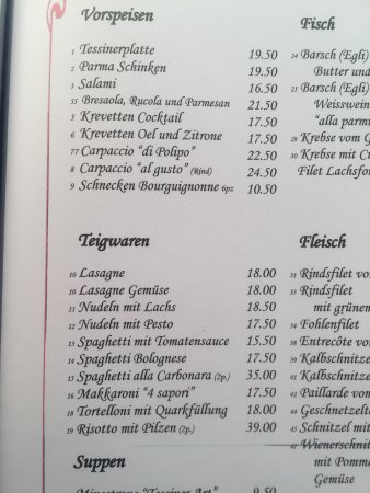 Ristorante Roccabella: reiche Auswahl, empfehlenswert: auch Polenta!