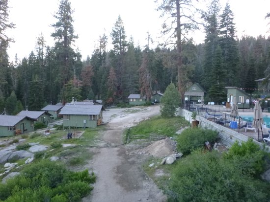 Cabins.  Pool on the right.