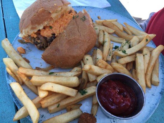 Indigo Coastal Shanty: Grilled peach pound cake, Raj burger, tostada, Charleston Saute, pimento burger