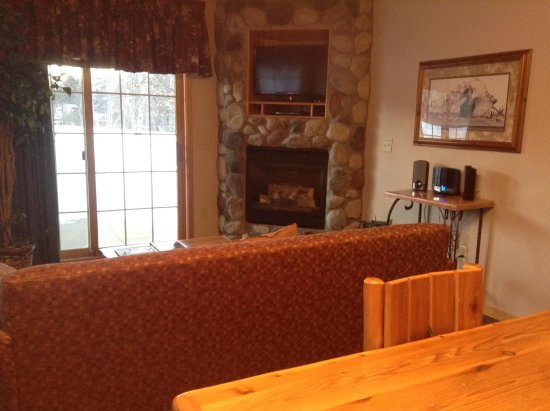 Breezy Point, MN: View of living room area taken from table.