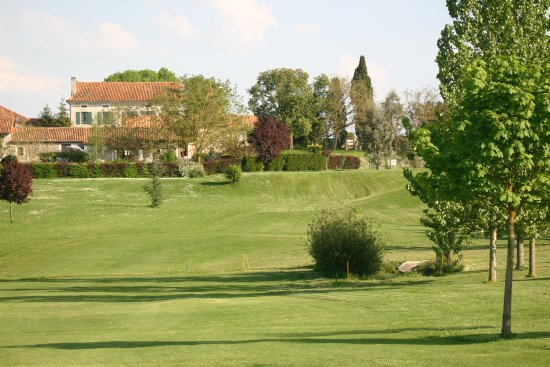 Pillac, France: View back up the 3rd fairway towards the Manoir..