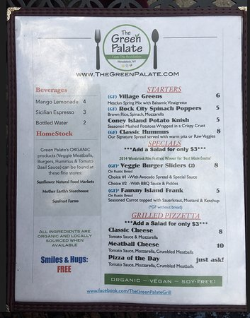 The Green Palate: Menu - organic and vegan