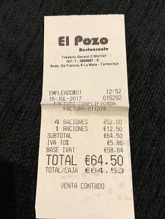 La Mata, Spain: ticket paella para 4 y una sepia