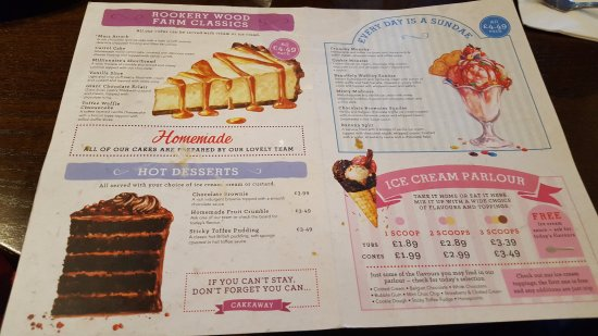 Crewe, UK: Dessert menu (could do with cleaning)