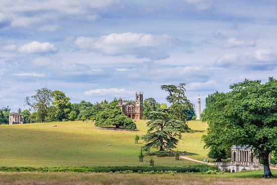 Buckingham, UK: Stowe, view of Palladian Bridge etc. from near Temple of Friendship