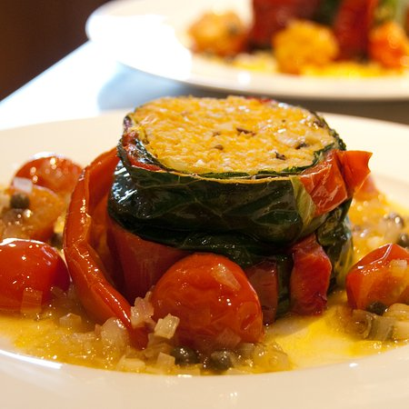 Veggie guest supper - Romano Pepper Roulade at Fairways B&B in Crewkerne Somerset TA18 8RN