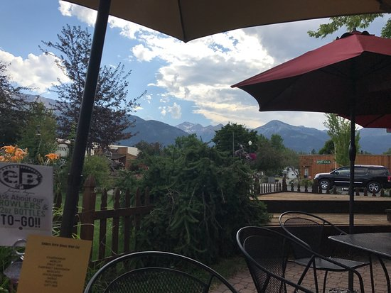 Joseph, OR: View from our table on Embers' patio of the picturesque mountains.