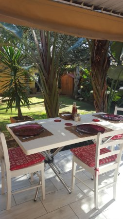 Edenvale, South Africa: Outside dining area overlooking the peacefull garden