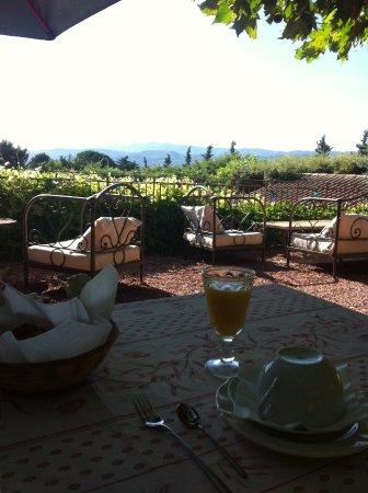 Гарга, Франция: Petit déjeuné servi dans le jardin-terrasse avec vue sur les montagnes
