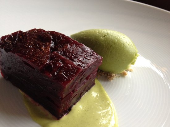 Wigmore, UK: Pressed beetroot terrine, rye crumb, avocado sorbet, lemon & dill mayonnaise