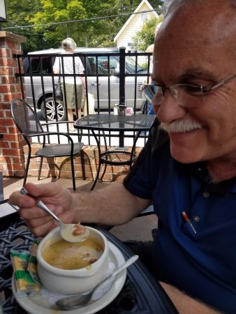 Six Pence Pub : Soup Special: Beer Cheese with Bacon and Andouille Soup. Sooo good. Even at 80 degrees outside.