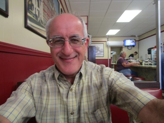 Cranston, RI: Louis happy after eating his meal.
