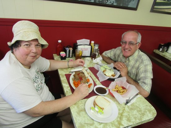 Cranston, RI: Louis and I eating our meals at City Hall Diner.