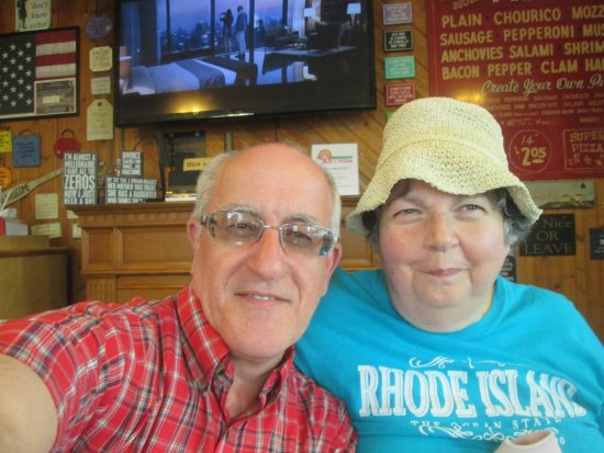 Jamestown, RI: Louis and I at Ace's Pizza.