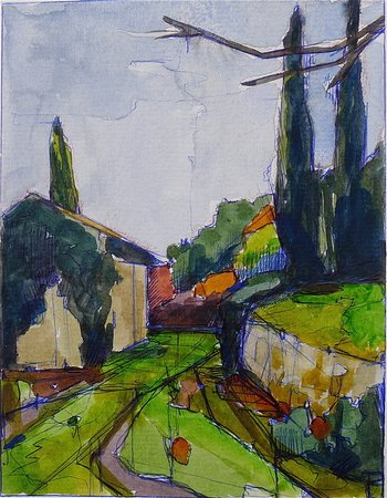Pieve di Caminino Historic Farm : My painting of Pieve di Caminino. Absolutely inspiring! To see more visit www.amywynne.com