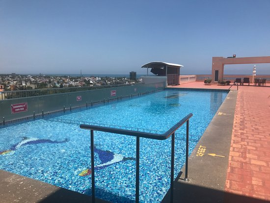 rooftop swimming pool with beach view at shenbaga hotel picture of shenbaga hotel convention