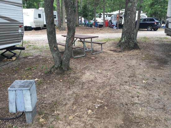 Timber Ridge RV & Recreation Resort: Sites way too narrow - you can see that the neighbors sewer was too close.  Pick a deluxe patio