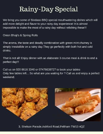 Feltham, UK: Mouthwatering Rainy Day Specials only @ Bindaas BBQ