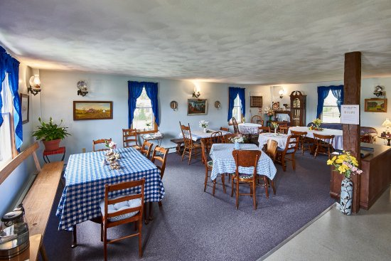 """Homestead, IA: Enjoy a full hot breakfast in our """"Amana blue"""" dining room."""