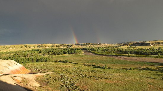 Circle View Guest Ranch: Departing thunderstorm over Cedar River valley, from 2nd floor deck.