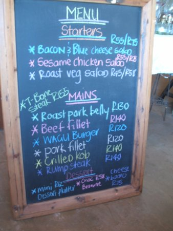 Bathurst, South Africa: menu on the day we visited
