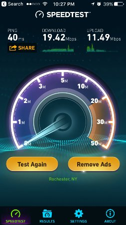 Webster, NY: enhanced internet speed, not too shabby