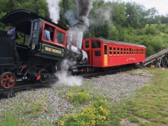 The Mount Washington Cog Railway: Steam engine starts its journey up Mt. Washignton