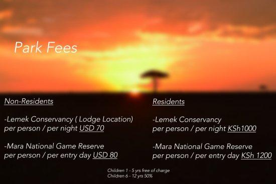 Mara Concord Game Lodge: Park Fees