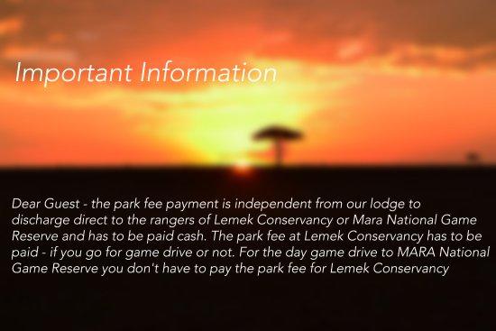 Mara Concord Game Lodge: Important Notice